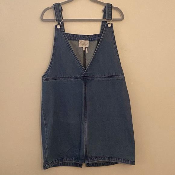 Hayden Denim Overall Jumper  V Neck Blue Dress L